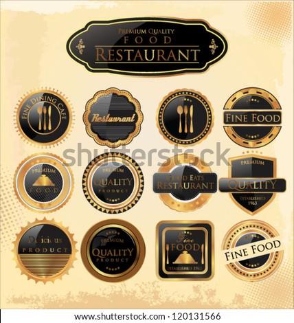 Set of restaurant premium quality Labels - stock vector