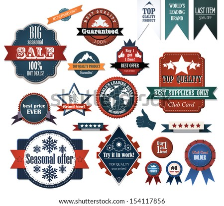 Set of retro advertising labels. EPS10 vector - stock vector