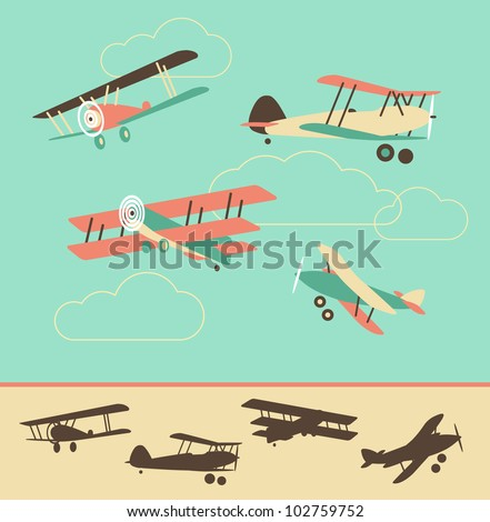 Set of Retro Airplanes in color and silhouette - stock vector