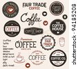 Set of retro and drawn coffee badges and elements - stock photo