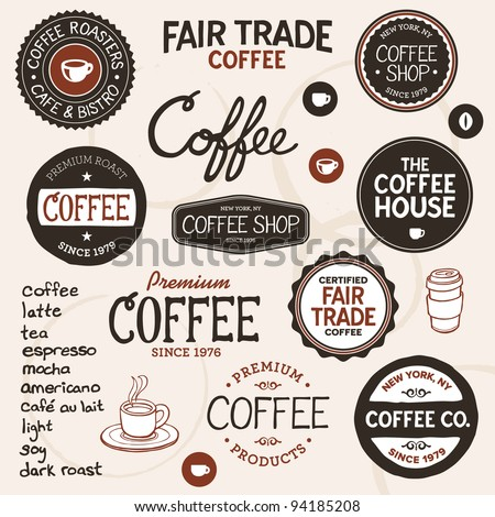 Set of retro and drawn coffee badges and elements - stock vector