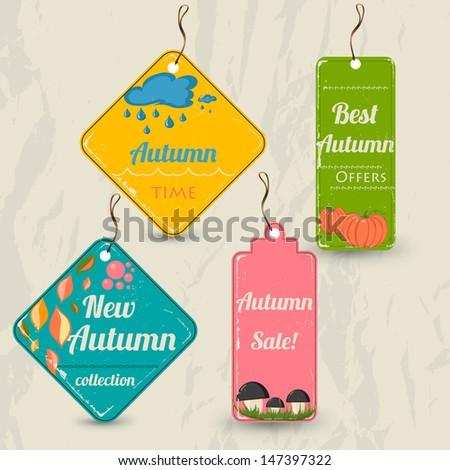 Set of 4 retro autumn tags. Vector illustration eps10 - stock vector