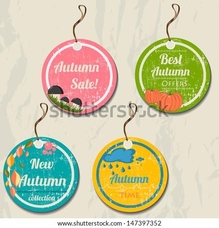 Set of 4 retro autumn tags. Vector illustration eps8 - stock vector