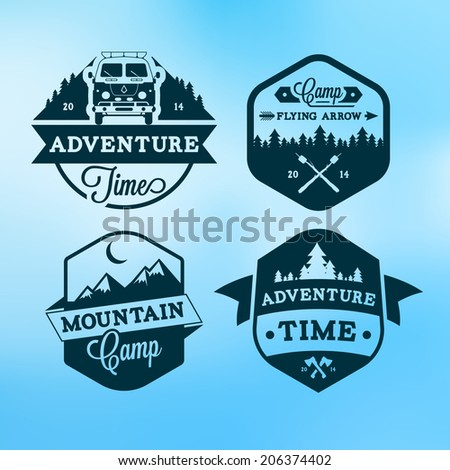 Set of retro badges and label logo graphics. Camp badges and travel logo emblems - stock vector