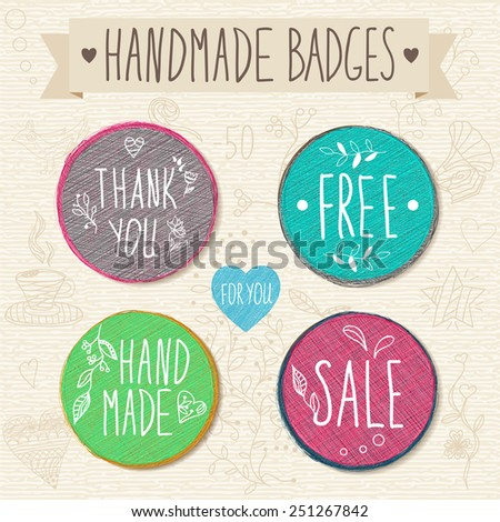 Set of retro badges. Hand-drawn lettering and patterns. Set handmade creative colored labels with inscriptions in vintage style.  - stock vector