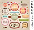 Set of retro bakery and coffee labels, ribbons and cards for vintage design, old paper textures - stock photo