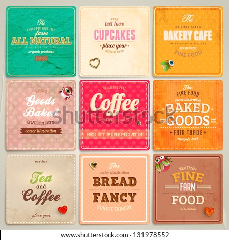 Set of retro bakery label cards for vintage design, old paper textures and seamless patterns - stock vector