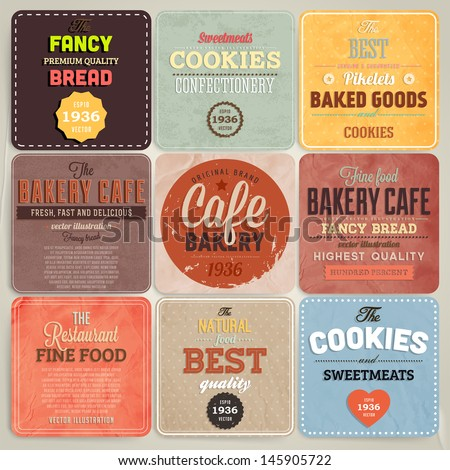 Set of retro bakery label cards for vintage design, old paper textures background and seamless patterns - stock vector