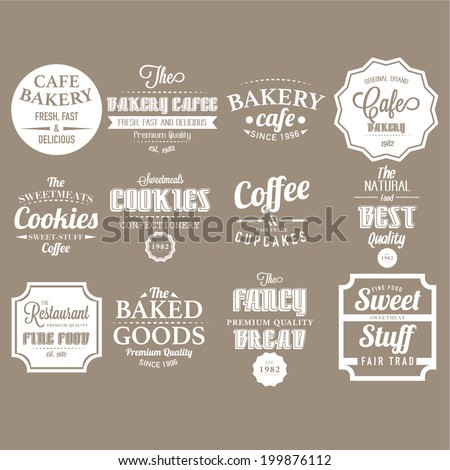 Set of retro bakery labels, ribbons and cards for vintage design  - stock vector