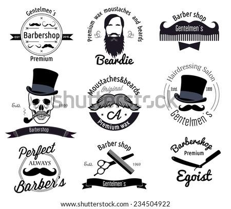 Set of retro barber shop logo, labels, badges and design element. Vector illustration. - stock vector