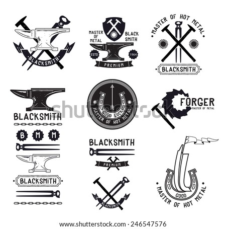 Set of retro blacksmith logo, labels design elements. Anvil symbol logo. Pliers hammer retro logo. Blacksmith vintage logo. Iron foundry logo sign. - stock vector