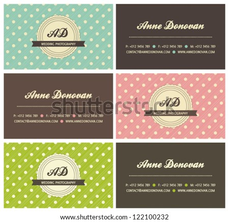 set of retro business cards with polka dots, vector illustration - stock vector
