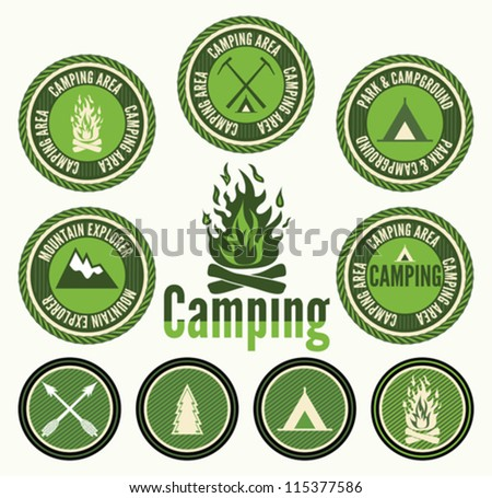 Set of retro camping  badges and labels - stock vector