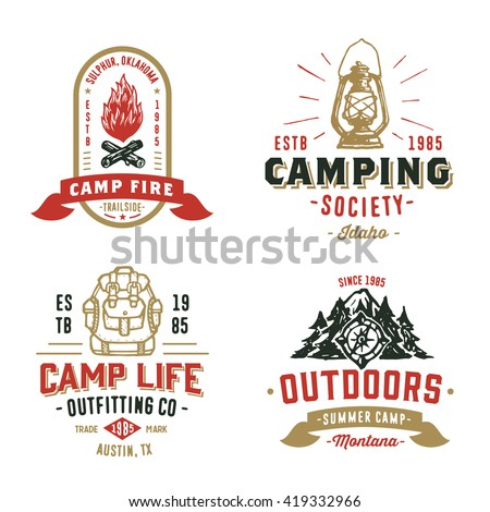 Set of Retro Camping Outdoor Badges, Old School Logos, Vintage Emblems and Design Elements. Hand drawn Vector Illustration of Backpack, Lantern, Campfire, Compass, Forest, Mountains, Firewood. - stock vector