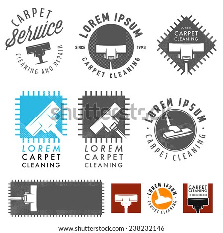 Set of retro carpet cleaning labels, emblems and design elements - stock vector