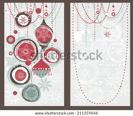 set of retro Christmas cards - stock vector