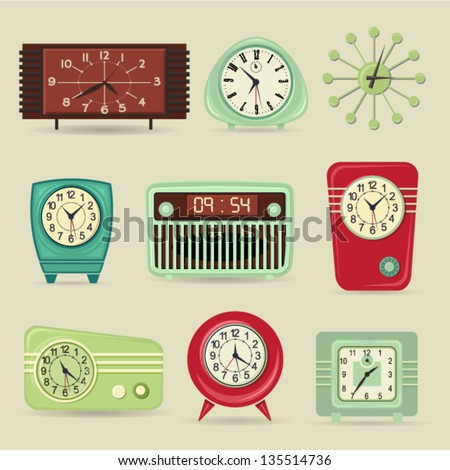Set of Retro Clocks, including alarm and radio clocks - stock vector