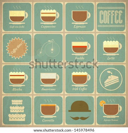 Set of Retro Coffee Labels in Vintage Style with Types of Coffee Drinks and Food Icons. Vector Illustration.  - stock vector