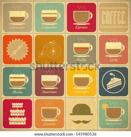 Set of Retro Coffee Labels in Vintage Style with Types of Coffee Drinks. Vector Illustration.  - stock vector
