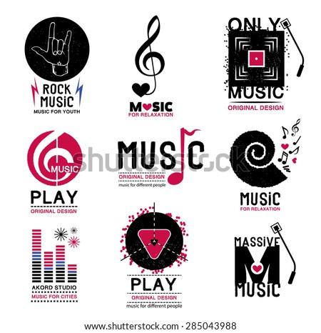 Set Retro Collection Music Logos Emblems Stock Vector 285043988