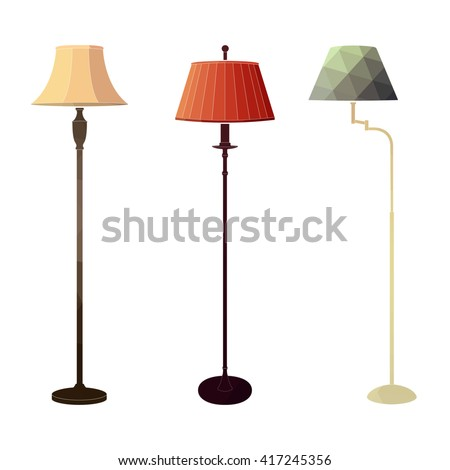 Set of retro colored floor lamps on white background in the style of a polygon. Vector illustration. - stock vector