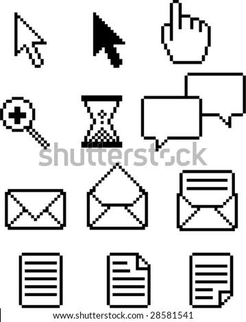 Set of retro computer pixel icons - stock vector