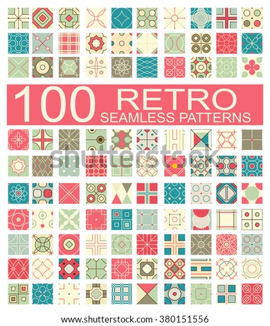 Set of 100 retro different vector geometric seamless patterns (tiling) of blue, red, ivory, pink and green colors. Endless texture can be used for pattern fills, web page background, surface textures - stock vector
