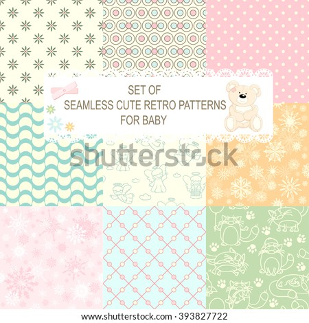 Set of retro different vector seamless patterns (tiling) of blue, orange, ivory, pink and green color. Endless texture can be used for pattern fills, web page background, baby and scrapbooking design - stock vector