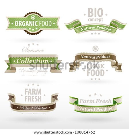 Set of retro Eco ribbons. Vector illustration. - stock vector