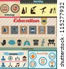 Set of retro education icons with vintage background - vector illustration - stock photo