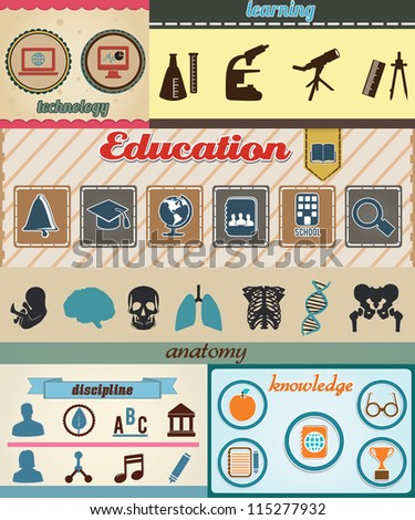 Set of retro education icons with vintage background - vector illustration - stock vector