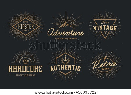 Set of retro emblems. Vintage labels. Vector logo templates.  - stock vector