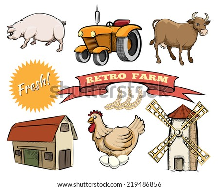 Set of Retro Farm colored vector icons depicting a pig  tractor   cow  barn  laying hen  windmill or mill  a Fresh logo and ribbon banner with the text - stock vector
