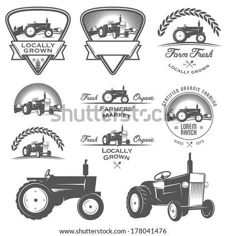 Set of retro farm fresh labels, badges and design elements  - stock vector