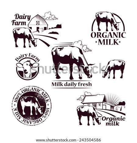 Set of Retro Farm vector icons depicting a cow  and banner with the text for your design - stock vector