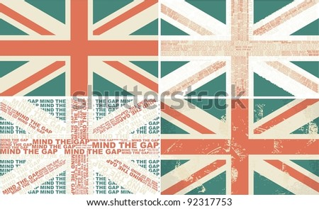 set of 4 retro flags of the UK - stock vector