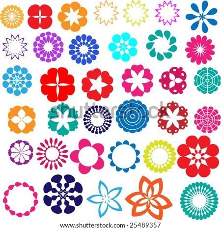 Set of 35 retro flower design elements - stock vector
