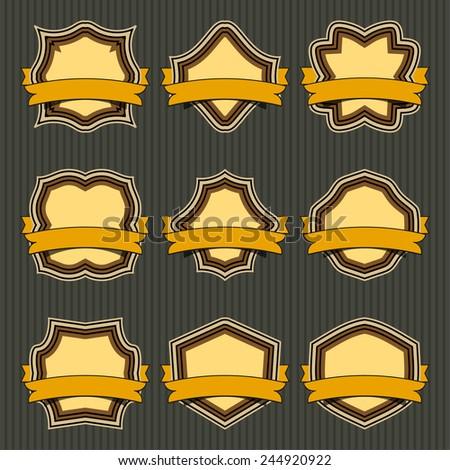 Set of retro frames and labels, vector. EPS10. - stock vector