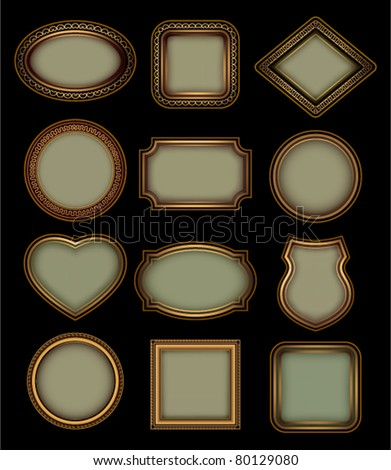 Set of retro frames on a black background - stock vector