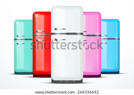 Set of Retro Fridge refrigerator in white color. Household appliances. Vector isolated on white background - stock vector