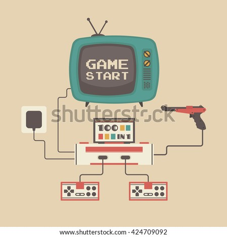 set of retro game player and television - stock vector
