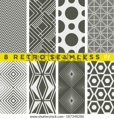 Set of retro geometric patterns.  Seamless vector textures - stock vector