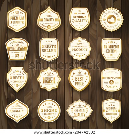 Set of Retro Gold Premium Quality Badges and Labels on Wooden Background. Vector Illustration. Quality Guarantee. Best Choice, Best Price, Original Product, Money Back Guarantee. Authentic Product. - stock vector