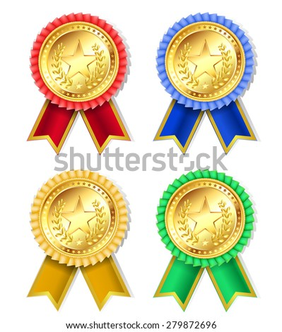 set of retro golden award with stars and ribbons  - stock vector
