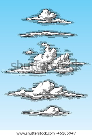 set of retro hand drawn clouds (vector), perfectly scalable and editable - stock vector