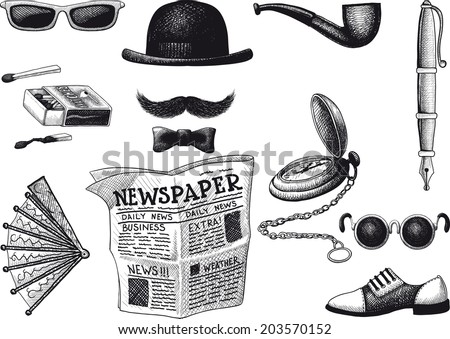 set of retro hipster. Everything you need in order to look fashionable - stock vector