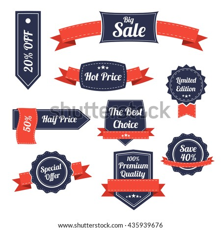 Set of retro labels and banners isolated on white. Vector Illustration. Special offer banner. Premium quality label. Sale stamp. Big Clearance. vector layout - stock vector