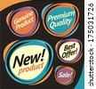 Set of retro labels, stickers and badges. Collection of promotional vector design elements. - stock vector