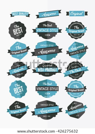 Set of retro labels, stickers and ribbons, flat design elements - stock vector