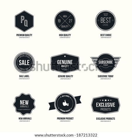 Set of retro minimalistic  badges and labels. flat design with stylish colors. Vector - stock vector
